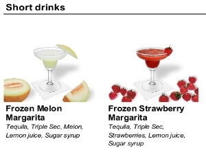 Drinks menu: Style big pictures