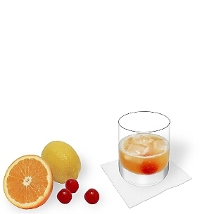 Amaretto Sour served in a whiskey glass, the most common way of presenting that delicious sour.