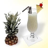 Batida de Coco in a hurricane glass