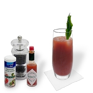 Bloody Mary is a spicy Cocktail from the USA composed of vodka and tomato juice.
