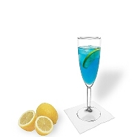 Blue Champagne in a champage glass
