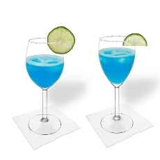 Blue margarita in a white wine glass and red wine glass