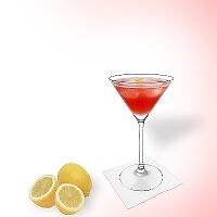 Cosmopolitan in a martini glass.