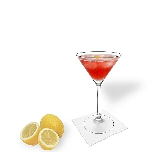 Cosmopolitan served in a Martini glass, the most common way of presenting that delicious vodka drink.