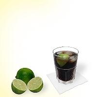 Cuba Libre in a tumbler glass.