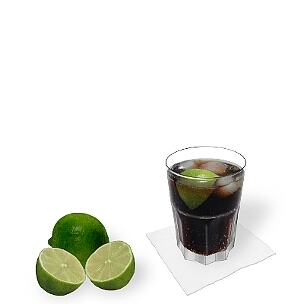 Cuba Libre served in a tumbler glass, the original Cuban way of presenting that famous drink.