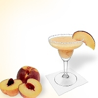 Frozen Peach Margarita served in a margarita glass with a piece of peach and a sugar or salt rim.