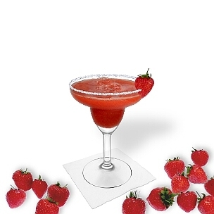 Frozen Strawberry Margarita served in a Margarita glass with a strawberry and sugar or salt rim, the common way of presenting that fruity tequila cocktail.