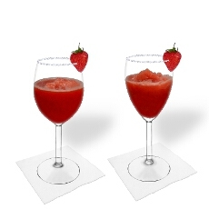 Frozen Strawberry Margarita in a white and red wine glass