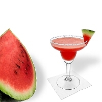 Frozen Watermelon Margarita served in a margarita glass with watermelon decoration and sugar or salt rim.