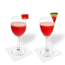 Frozen Watermelon Margarita in a white and red wine glass