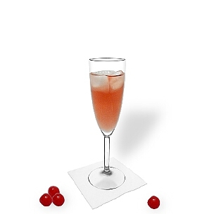Kir Royal in a champagne glass, the common way of presenting that delicious cocktail.