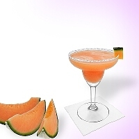 Melon Margarita served in a margarita glass with melon decoration and a sugar or salt rim.