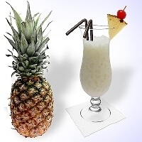 Pi�a Colada in a hurricane glass type Gibraltar