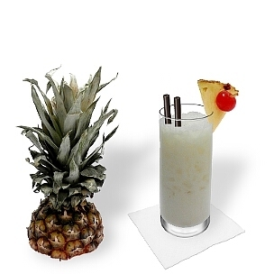 Long-drink or hurricane glasses are ideal for Piña Colada.