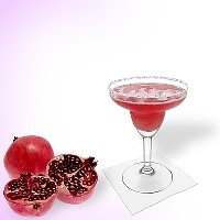 Pomegranate margarita served in a margarita glass with a sugar or salt rim. Click on the picture to see the complete recipe with more pictures.