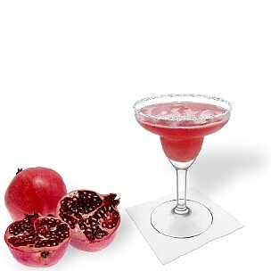 Pomegranate Margarita served in a Margarita glass with sugar or salt rim, the common way of presenting that fruity tequila cocktail.