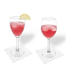 Pomegranate Margarita in a white and red wine glass