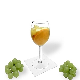 Sangria Blanca is white wine or champagne and orange juice with fruit pieces soaked in alcohol.