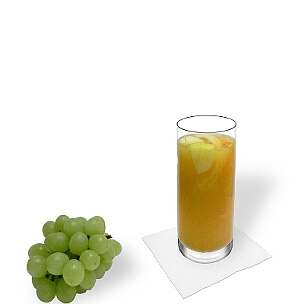 Sangria Blanca served in a long-drink glass, the most common way of presenting that fruity wine drink from Spain.