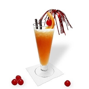 Sex on the Beach is a fancy cocktail, present it with fruit decorations and straws.