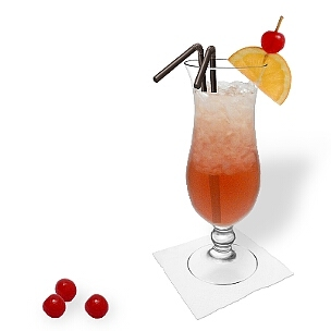 Singapore Sling in a hurricane glass with orange cherry decoration, an eye-catching option to present that delicious gin cocktail.