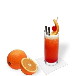 All kind of long drink glasses are ideal for Tequila Sunrise.