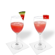 Watermelon Margarita in a white and red wine glass