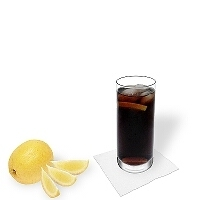 Whiskey and Coke in a long-drink glass.
