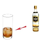 Whiskey and CokePreparation: Whisky and ice cubes