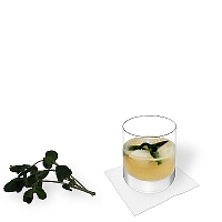 Whiskey Sour in a tumbler glass with peppermint decoration.